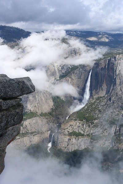 Yosemite Falls drops over 2400 feet.