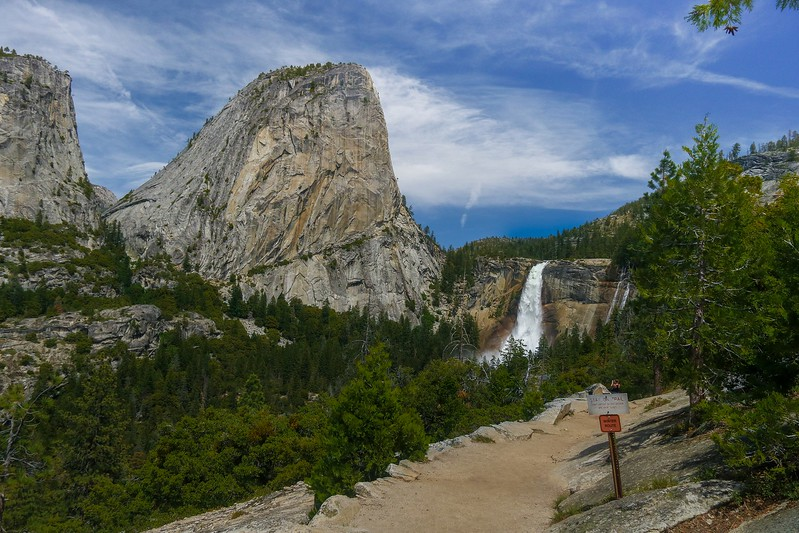 Nevada Falls as seen from Clark Point on the John Muir Trail.