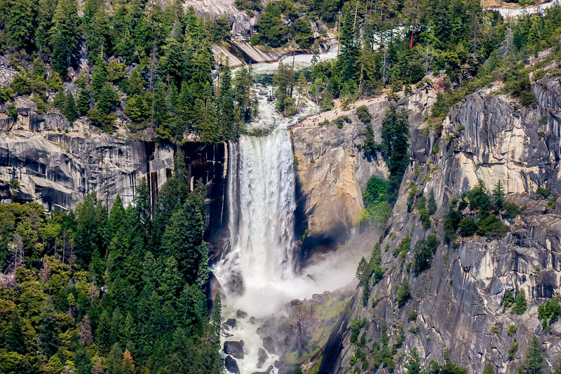 Wider angle view of Vernal Falls from Glacier Point lookout.