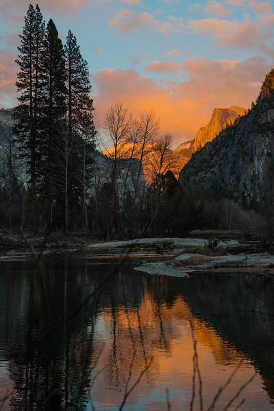 Sunset Reflection from Merced River, Yosemite
