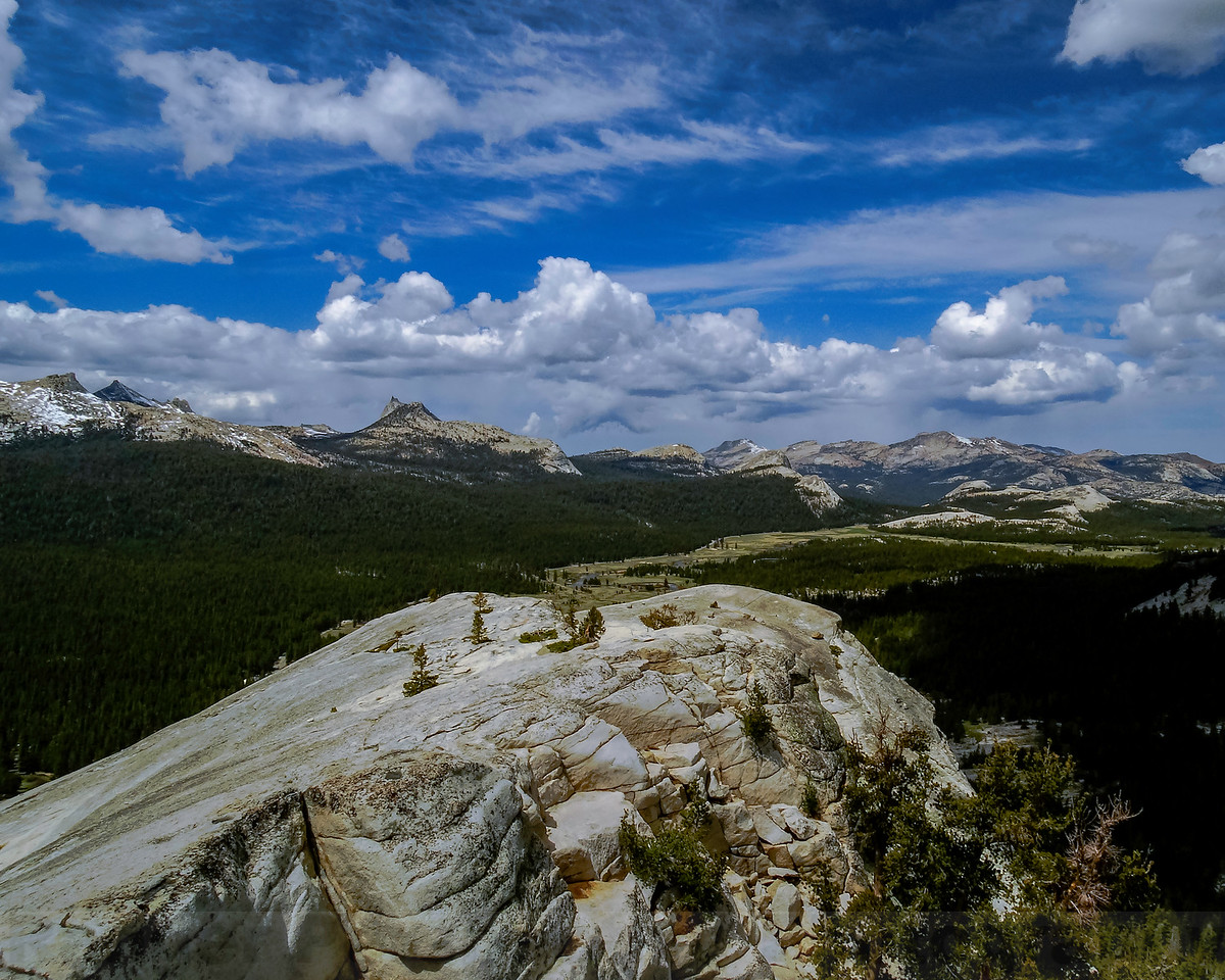 Cathedral Range, Tuoumne Meadows, Mount Hoffman and Tuolunme Peak from Lembert Dome