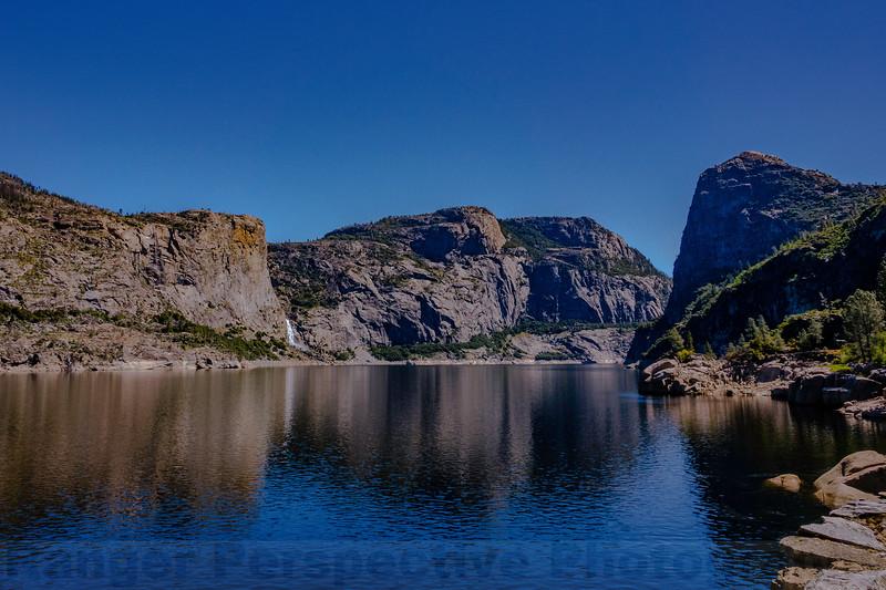 Hetch Hetchy with Teuulala Falls, Wapama Falls, Hetch Hetchy Dome and Kolana Rock, left to right