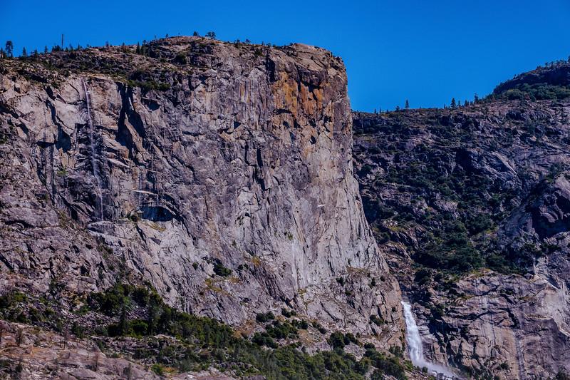 "Tueelala and Wapama Falls, framing the ""El Capitan"" of Hetch Hetchy"