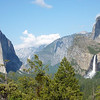 "Bridalveil Fall and El Capitan as seen from the ""tunnel view"" Highway 41"