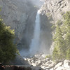 Yosemite National Park California<br /> Lower Yosemite Falls with mist blowing