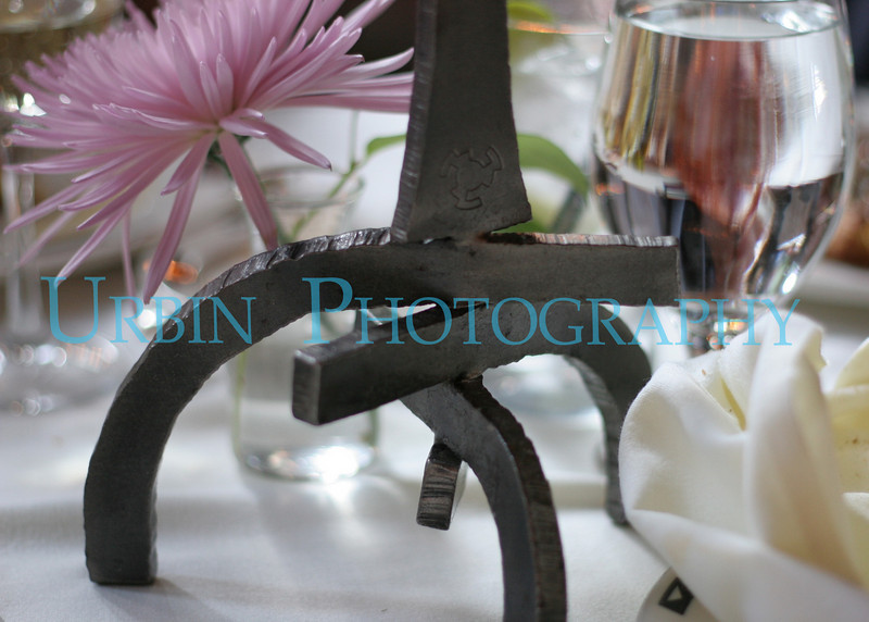 One of the custom candle holders in the main dining room.
