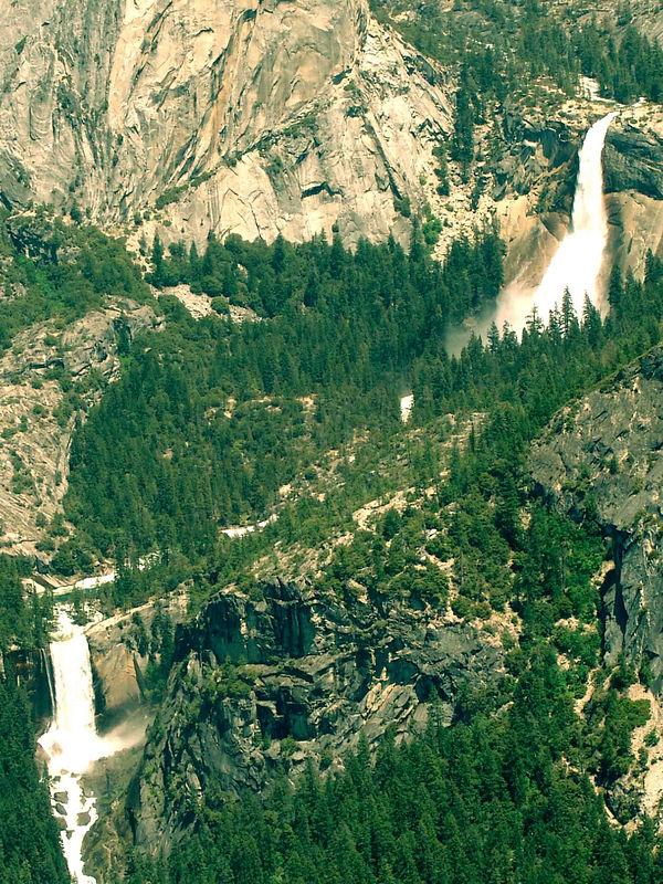 Vernal Falls, Nevada Falls, Yosemite from Glacier Point.