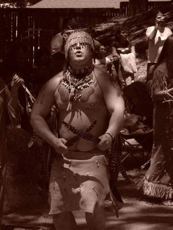 Yosemite Miwok dancer. Big time or Indian days June, Father's day wekend every year. Indian village Yosemite Valley.