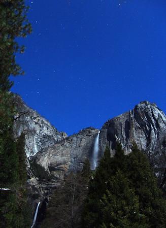 Yosemite Falls Full moon light. Yosemite Valley, 1-09.