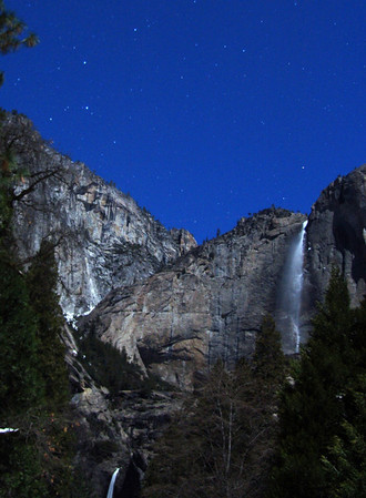 Yosemite Falls. Full moon light. Yosemite Valley, 1-09.