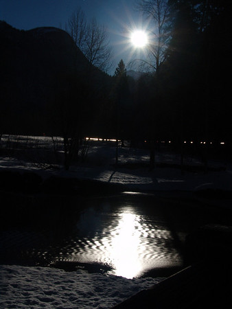 Largest full moon in 15 years. Swinging bridge over Merced River Yosemite 1-10-09.
