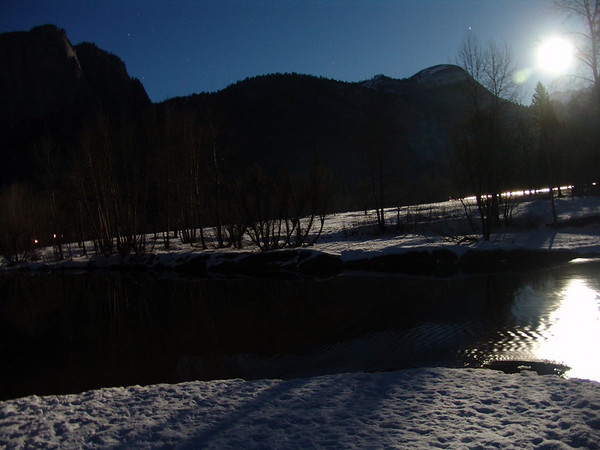 Merced River, full moon. Yosemite Valley. 1-10-09