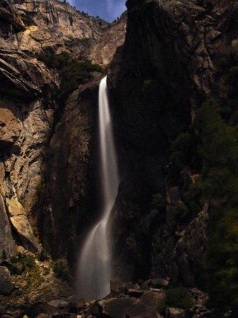 Lower Yosemite Falls under %100 full moon illumination light only time exposure.