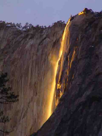 Horsetail Falls Yosemite Febuary 2007. Near the winter solstice if there is enough water and not too many clouds right before sunset it's possible to see this falls get lit by the setting sun.