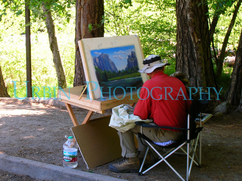 A fellow painting one of the famous vista points in Yosemite Valley.