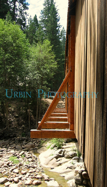 The outside of the covered bridge that leads to the Historical Yosemite Village.  This viewpoint appealed to me.