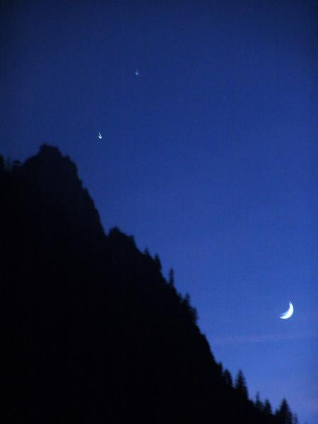 Jupiter, Venus and the Crescent Moon against Sentinel Dome. Yosemite Valley November 30, 2008.
