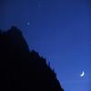 Jupiter, Venus and the Crescent Moon against Sentinel Dome. Yosemite Valley November 30, 2008.