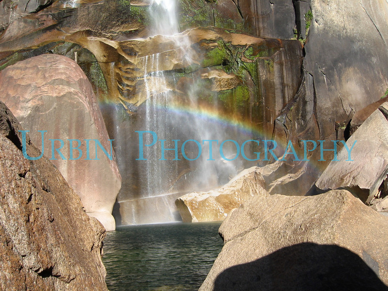 Pool at the base of Vernal Falls with a nice little rainbow.