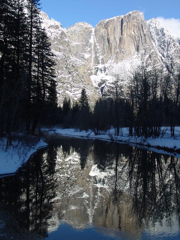 Swinging bridge Yosemite winter