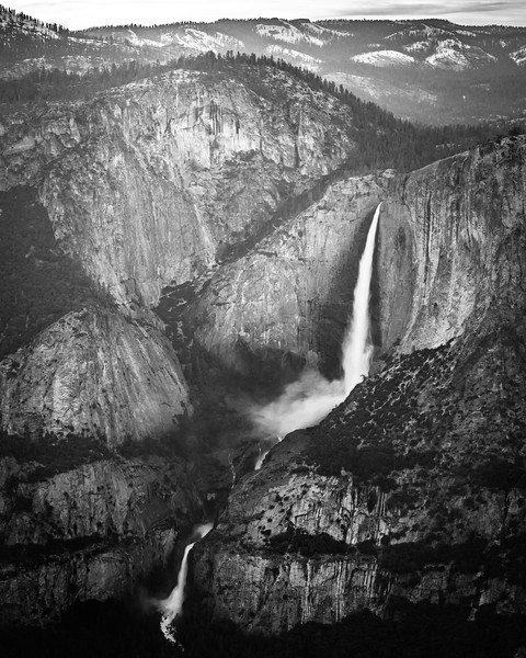Upper and Lower Yosemite Falls at Sunset in B&W
