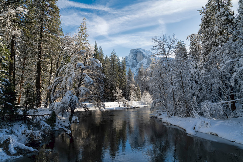 Half Dome & Merced River in Winter