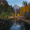 Iconic Half Dome and Merced River in Fall