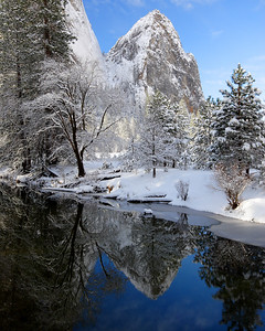 Winter Reflection, Cathedral Rocks Yosemite National Park California