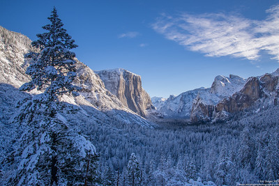 Winter In Yosemite Morning sunlight warming up a cold morning after a Winter storm….