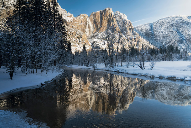 Yosemite Falls & Reflection in Winter