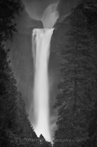 Yosemite Lower Falls in black and white