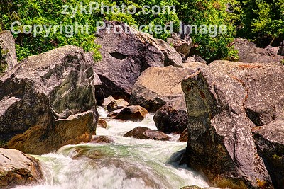 River Running Between Boulders