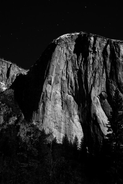 B/W El Capitan in Moonlight