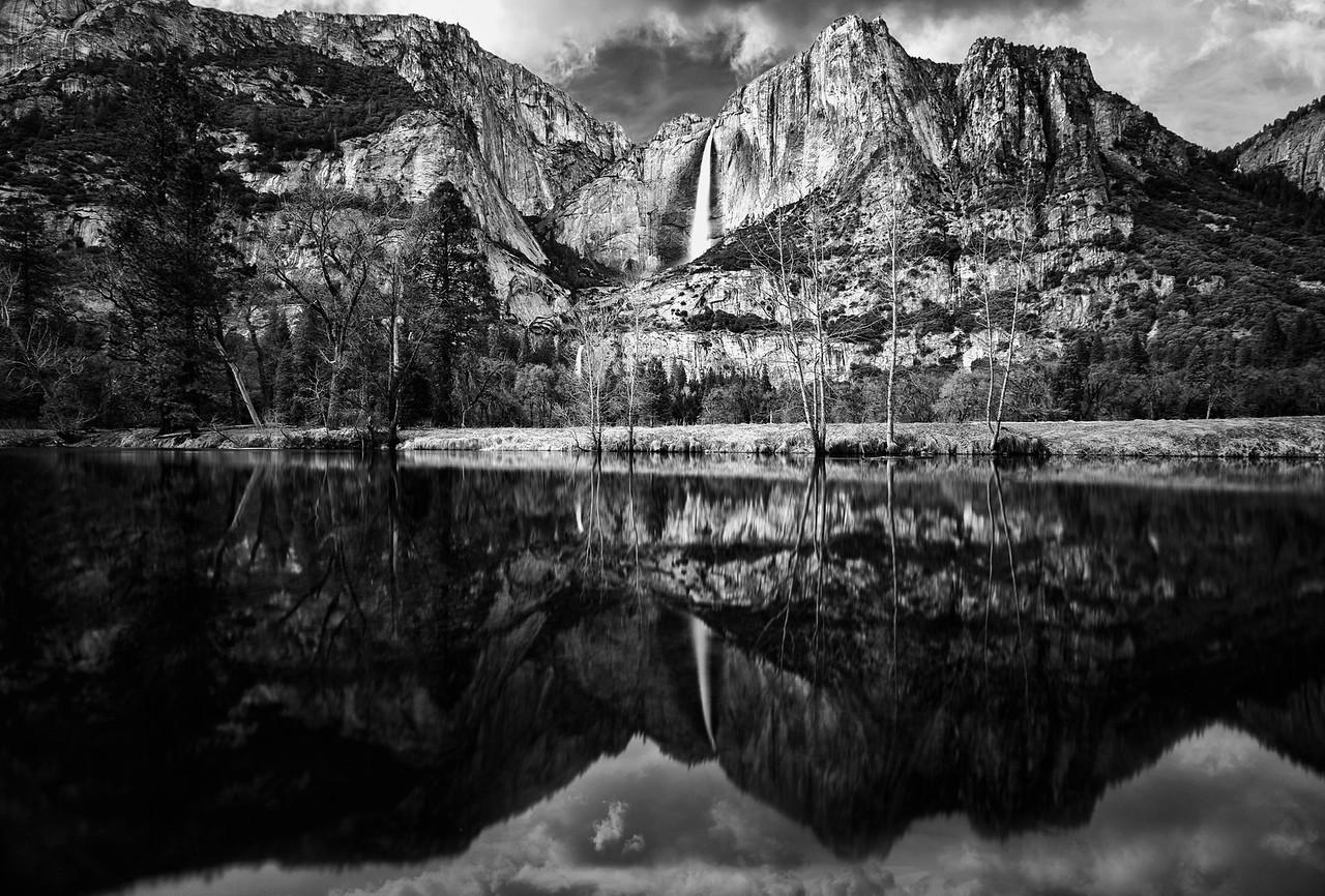 Duo of Yosemite Falls in Monochrome