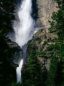 View from the Yosemite Falls as you approach the lower falls by valley trail at bus stop #6