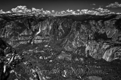 Yosemite Valley from Glacier Point black and white