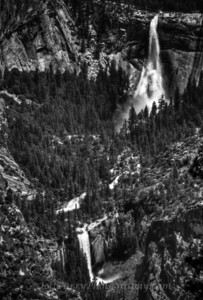 Vernal and Nevada Falls black and white