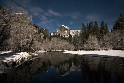 Half Dome and Surrounding by Moonlight