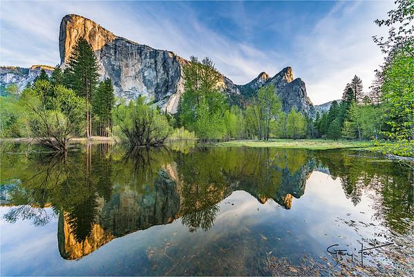 Spring Reflection, El Capitan and Three Brothers, Yosemite