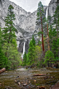 Yosemite Falls Down Stream