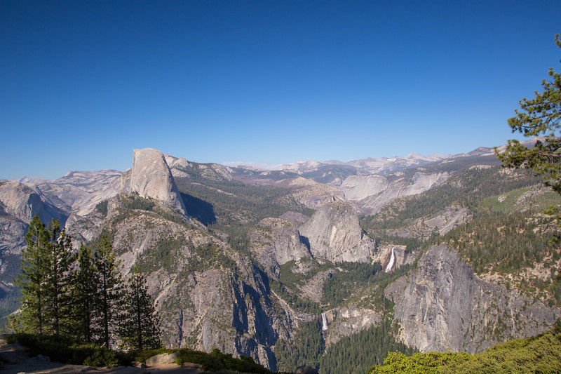 Half Dome with Vernal and Nevada Falls