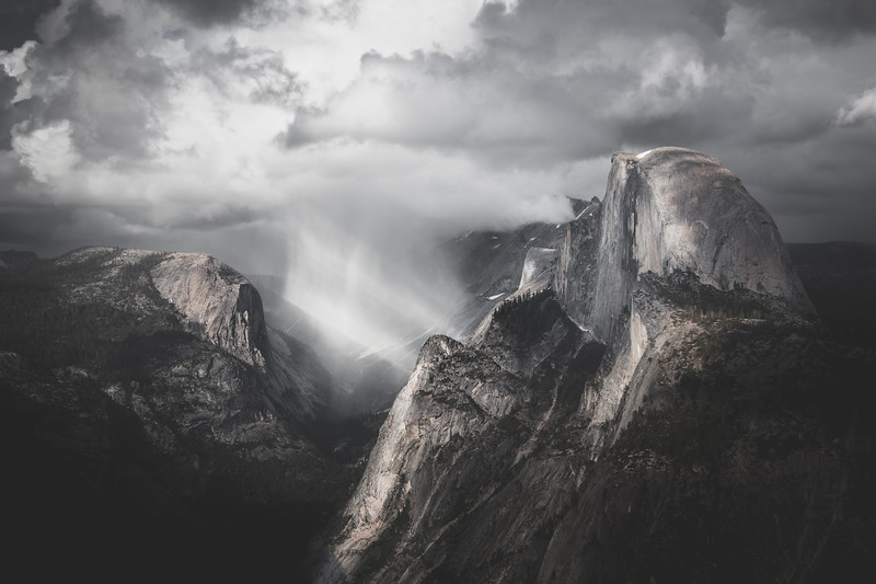 Light Beams Through Storm at Half Dome