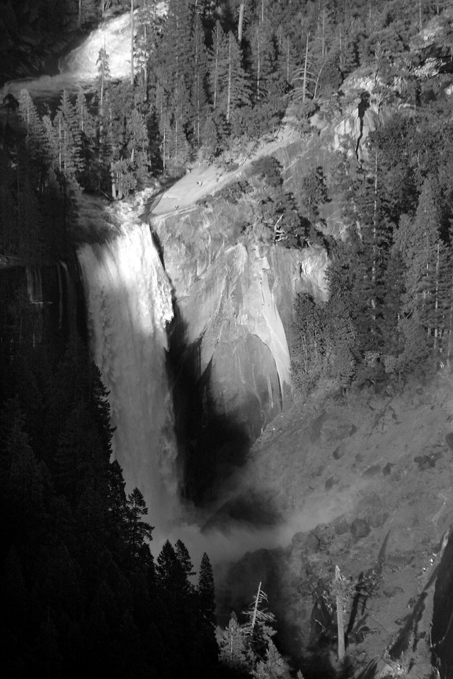 Vernal Falls From Glacier Point in B/W