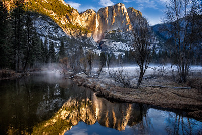 Richards___Merced River with Yosemite Falls in the background during early morning