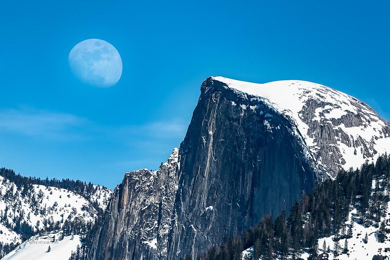 Moonrise over Half Dome. Yosemite, CA