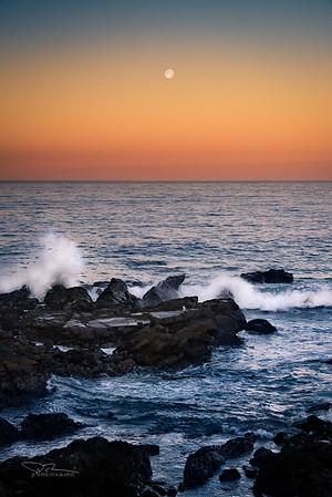 Moonset. Cambria, CA