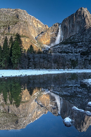 Yosemite Falls reflected in Cook's Meadow. Yosemite, CA