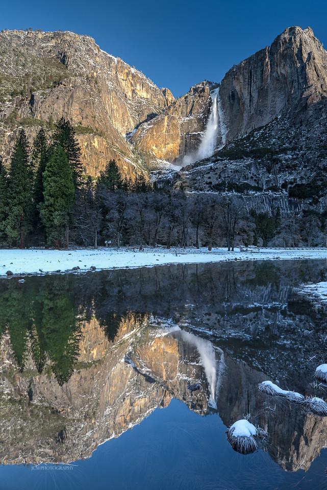 Yosemite Falls reflected in Cook's Meadow. Yosemite, CA