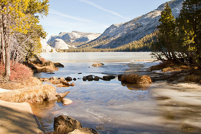 Tenaya Creek, with portions frozen, where it meets Tenaya Lake. Yosemite National Park January 5, 2012 J5(8)