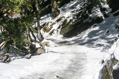 This is what the trail to the Vernal Fall footbridge was like.  My husband, daughter and I were very careful.  This was before we knew about Yaktrax, but we never fell. February 24, 2007 F24(17)